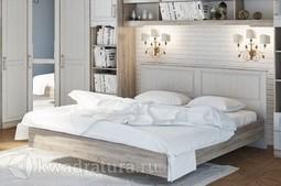 Двуспальная кровать «Прованс» с подъемным механизмом (Дуб Сонома трюфель/Крем) без матраса ТР