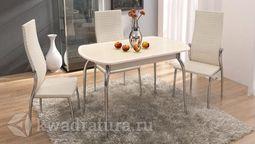Обеденный стол раздвижной с хромированными ножками Ницца Т1 вариант 5 ТР