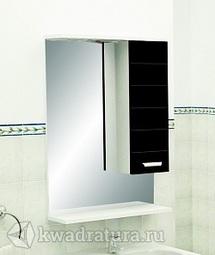 Зеркало Меркана Таис 60 см шкаф справа, свет, выкл., розетка черный каннелюр артикул 25551