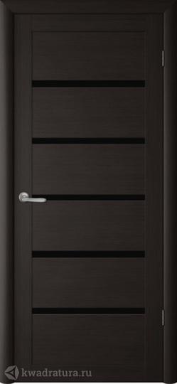Межкомнатная дверь Фрегат (ALBERO) Вена темный кипарис стекло черное
