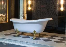 Каменная ванна Bristol Эдельвейс 170*82,7 белая с золотыми ножками