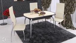 Обеденный стол раздвижной с хромированными ножками Ницца Т1 вариант 2 ТР