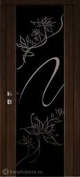 Межкомнатная дверь Луидор Альмека, черный дуб, темное с/о, Swarovski