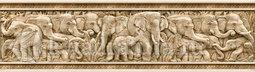 Бордюр для настенной плитки InterCerama Safari коричневый вертикальный Слоны 40*11 см