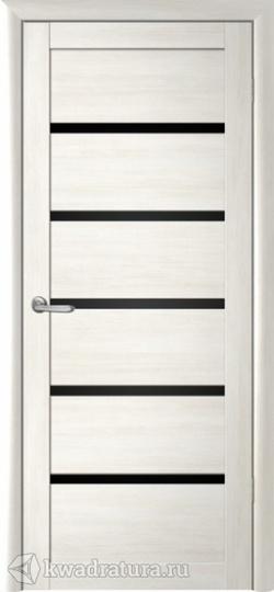 Межкомнатная дверь Фрегат Вена кипарис белый стекло черное