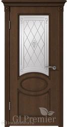 Межкомнатная дверь ВФД GL PREMIER 12 дуб коньяк патина тёмно-коричневая