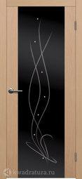 Межкомнатная дверь Матадор Крокус беленый дуб стекло черное