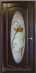 """Межкомнатная дверь Луидор Оливия махагон витраж """"Орхидея"""""""