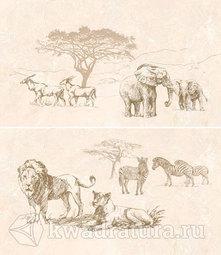Панно для настенной плитки InterCerama Safari коричневое Слоны Львы 46*40 см