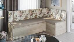 Скамья угловая со спальным местом «Париж» цветы коричневые ТР