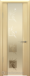 Межкомнатная дверь Океан Шторм-3 с/о белое Бабочки Беленый Дуб