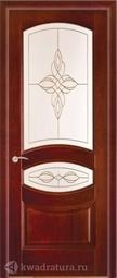 """Межкомнатная дверь Луидор Ювелия махагон витраж """"Орнамент"""""""