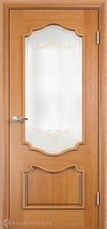 Межкомнатная дверь Луидор Верона дуб витраж контурный золотой